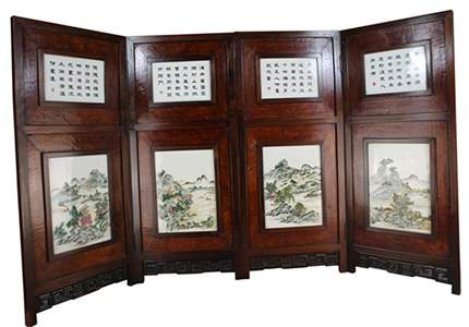 A CHINESE FAMILLE ROSE TABLE SCREEN