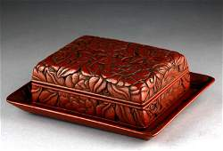 PAIR OF END OF MING EARLY QING RED LACQUER PLATE AND
