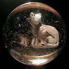 3004: 68004 BB Marbles: Seated Cat Sulphide