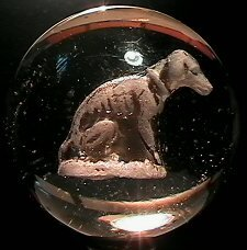 3005: 68005 BB Marbles: Seated Whippet Sulphide