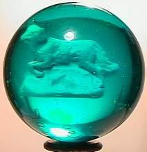 "69006 BB Marbles: Aqua Glass Sulphide 1-9/16"" Pol"
