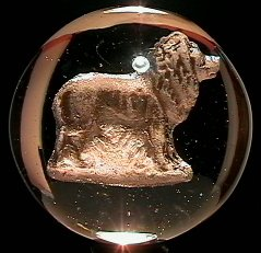"""2007: 70007 BB Marbles: Lion Sulphide 1-15/16"""" Polished"""