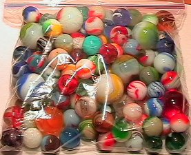 69004: 69004 BB Marbles: About 50 Assorted machine made