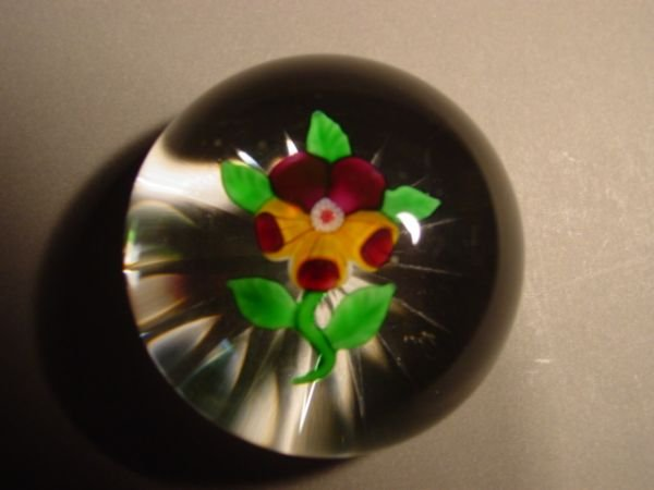 69221: 69221 BB Marbles: 19C Baccarat Pansy Paperweight