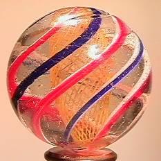 """BB Marbles: Latticinio Swirl 1-5/16"""" 9.1"""