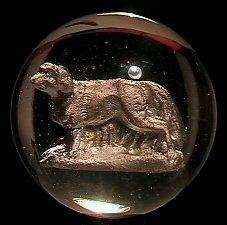 """73002: 73002 BB Marbles: Dog Sulphide 1-15/16"""" Polished"""