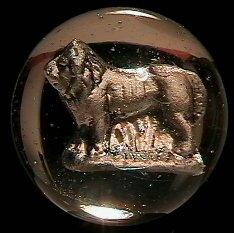 "73010: 73010 BB Marbles: Lion Sulphide 1-3/16"" Buffed"