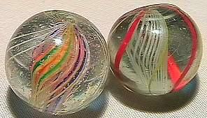 74011 BB Marbles: Latticinio Swirl & Divided Swi