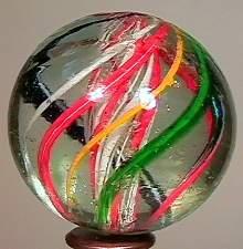 77002 BB Marbles: Red and White Latticino Swirl