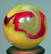 "79178: 79178 BB Marbles: Akro Egg Yolk Oxblood 3/4"" 9.1"