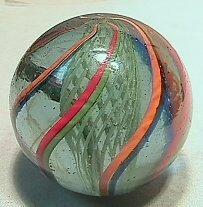12: BB Marbles: Green Latticinio Core Swirl