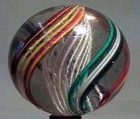 """87013 BB Marbles: EOC Latticinio Swirl 2-3/8"""" 8.3"""