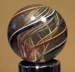 "90011 BB Marbles: Latticinio Swirl 1-3/4"" Pol."