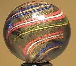 """91001 BB Marbles: Latticinio Swirl 2-3/8"""" 8.8"""