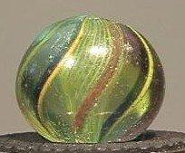 91011 BB Marbles: Green Latticinio Swirl 21/32 8.7