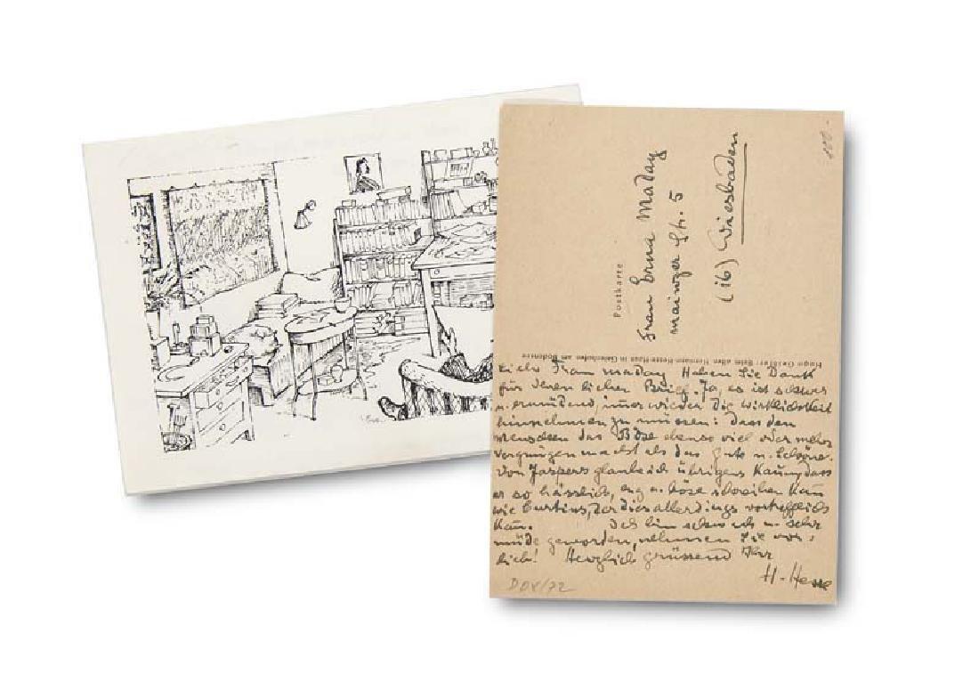 Hesse, Hermann 2 Postkarten von Hermann Hesse mit