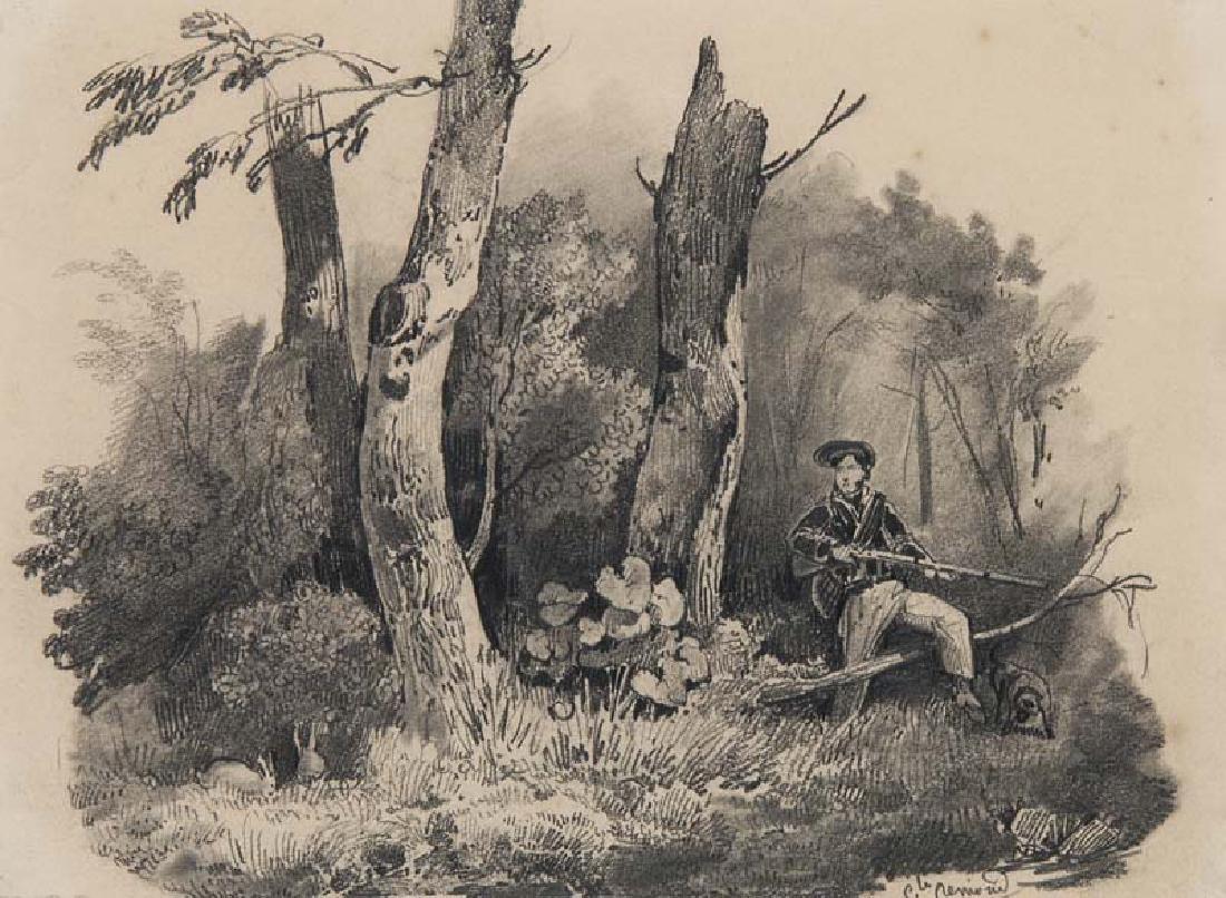 Rémond, Jean Charles Joseph Jäger im Wald. Graphit auf