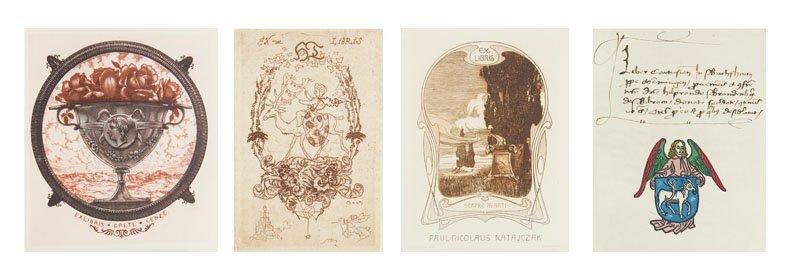 Sammlung von 42 Werken zu Exlibris aus Deutschland. Mit