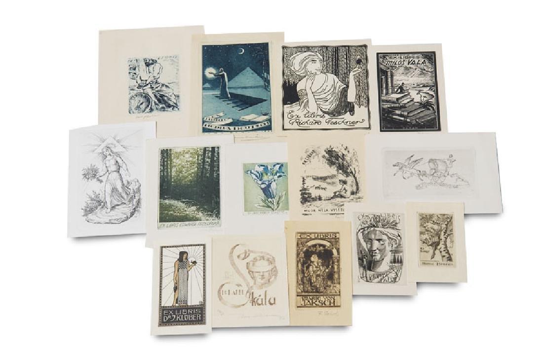 Sammlung von ca. 727 modernen Exlibris. Überwiegend