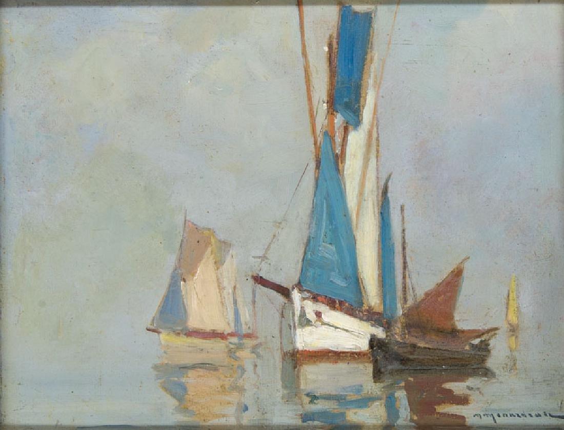 Menardeau, Maurice Segelboote auf ruhiger See. Öl auf