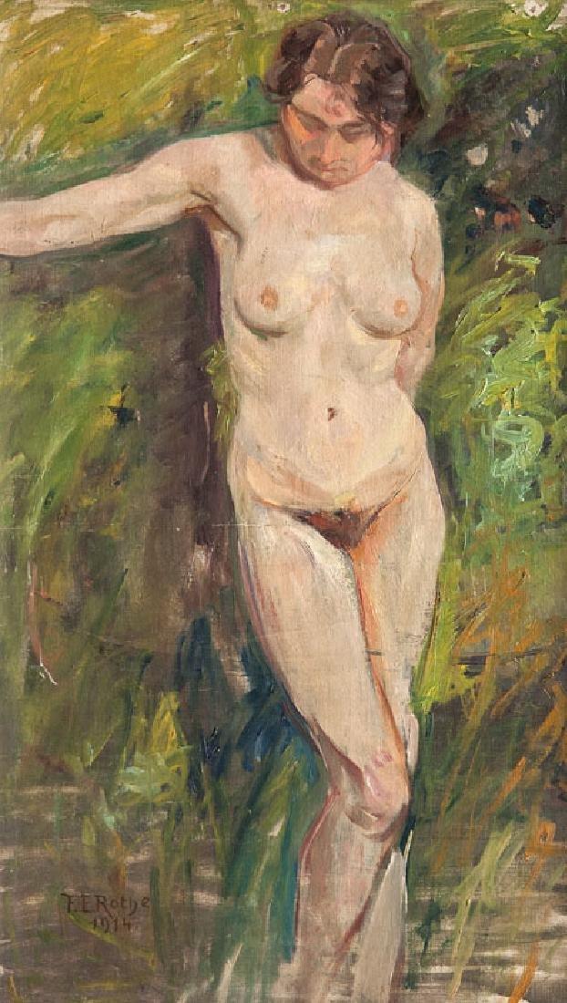 Rothe, Franz Eduard Stehender weiblicher Akt. 1914. Öl