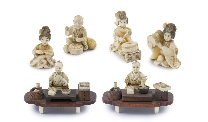 Okimono. Sammlung von 6 sehr kleinen Figuren, darunter