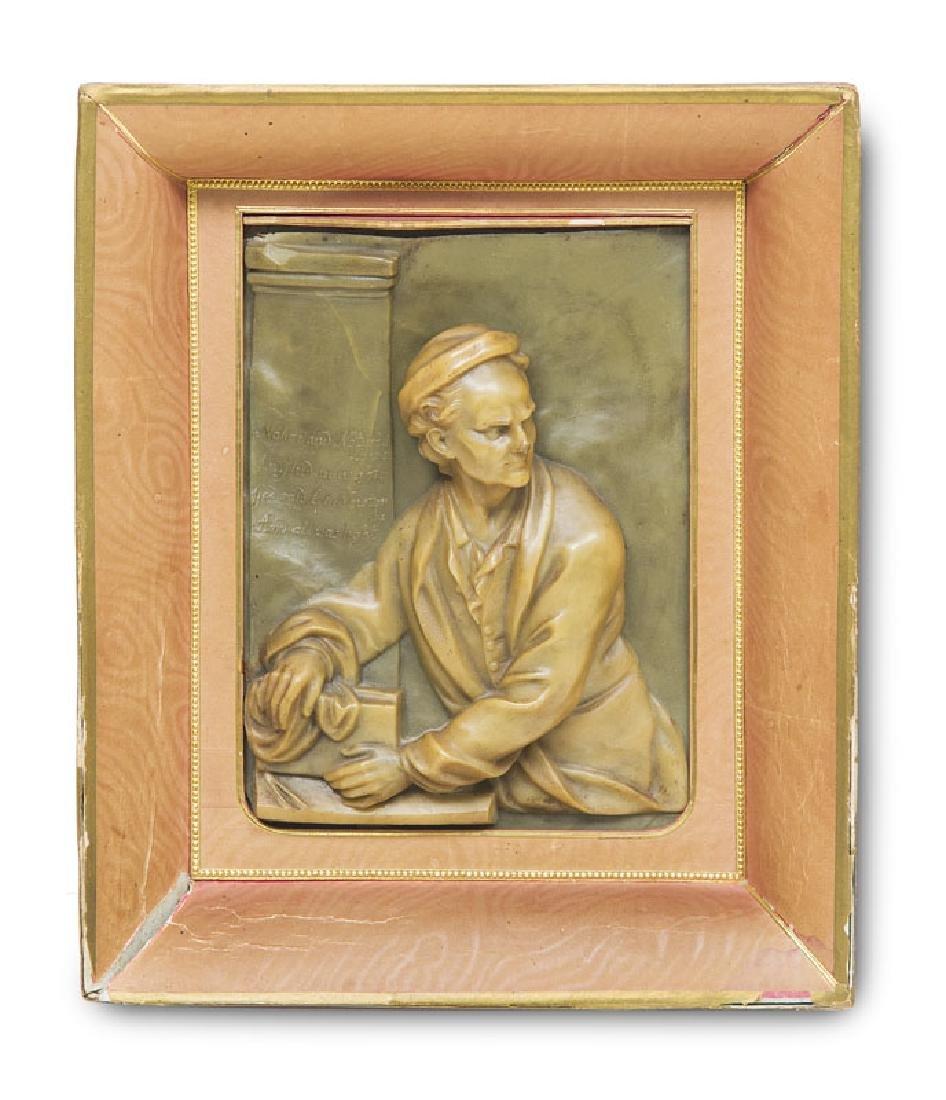 Reliefportrait des Isaac Newton in Wachs. Spätes 18.