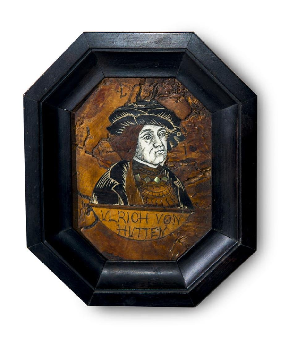 Intarsien-Portrait des Dichters Ulrich von Hutten