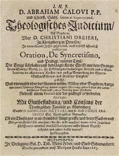 Abraham Calov Theologisches Indicium Uff Begehren