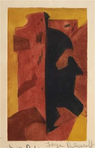 Poliakoff, Serge o.T. Farbradierung auf chamoisfarbenem