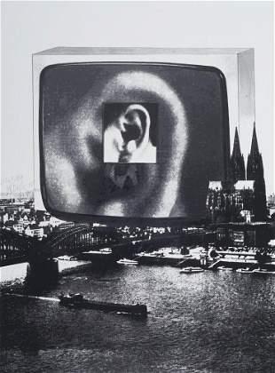 Vostell, Wolf WDR-Ohr über Köln. Serigraphie