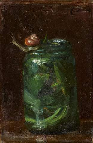 Höhn, Alfred o.T. (Schnecke am Glas). Öl auf