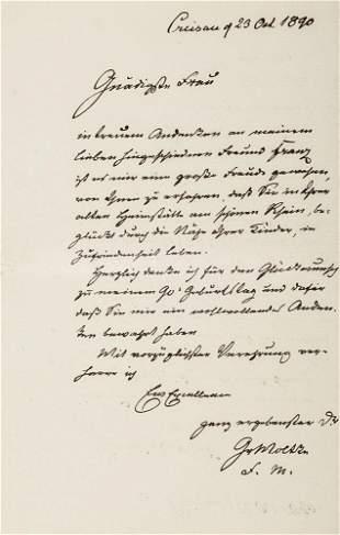 Moltke, Helmuth Graf von Eigenhändiger Brief mit