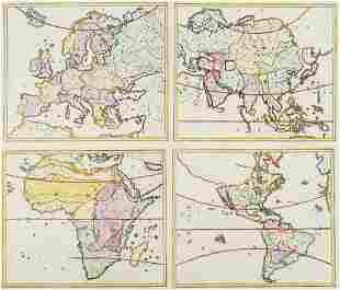 Sammlung von drei alten Karten. Je (kolorierter)
