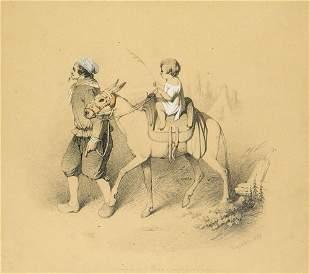 Valerio, Théodore Bauer mit Kind auf einem Esel.