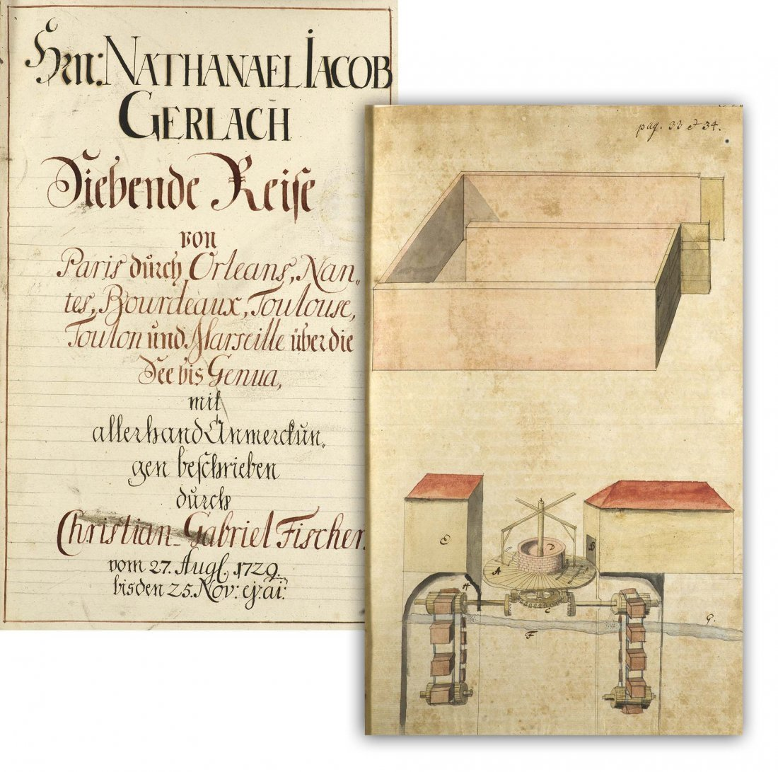 Travel Manuscript France and Italy Folio 1729 Drawings