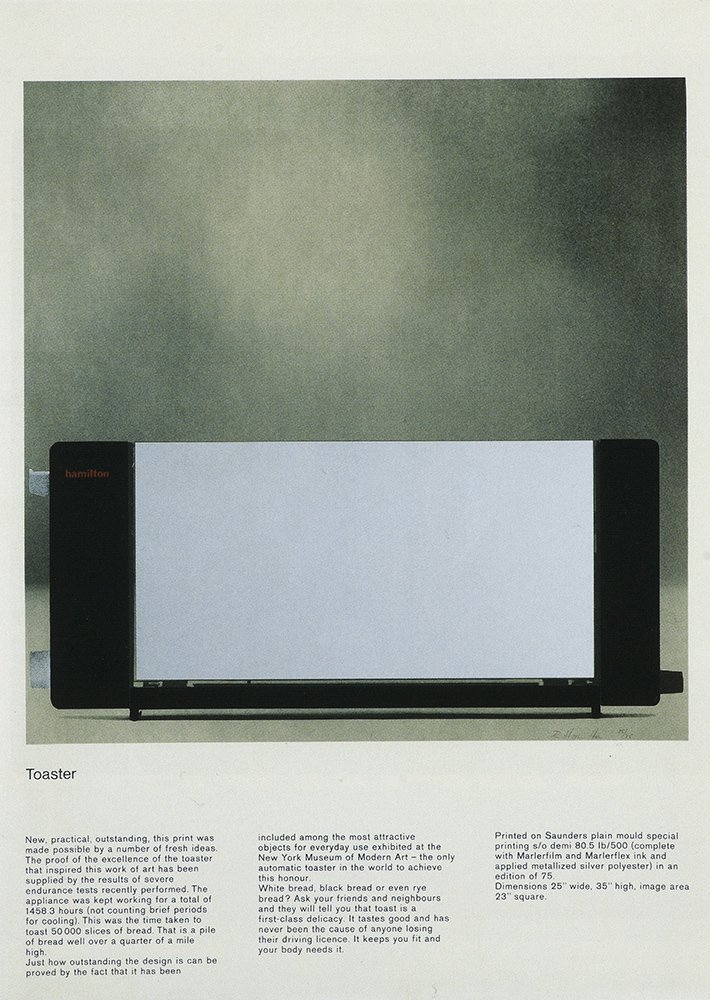 Richard Hamilton - Toaster - Rare Pop Art Lithography