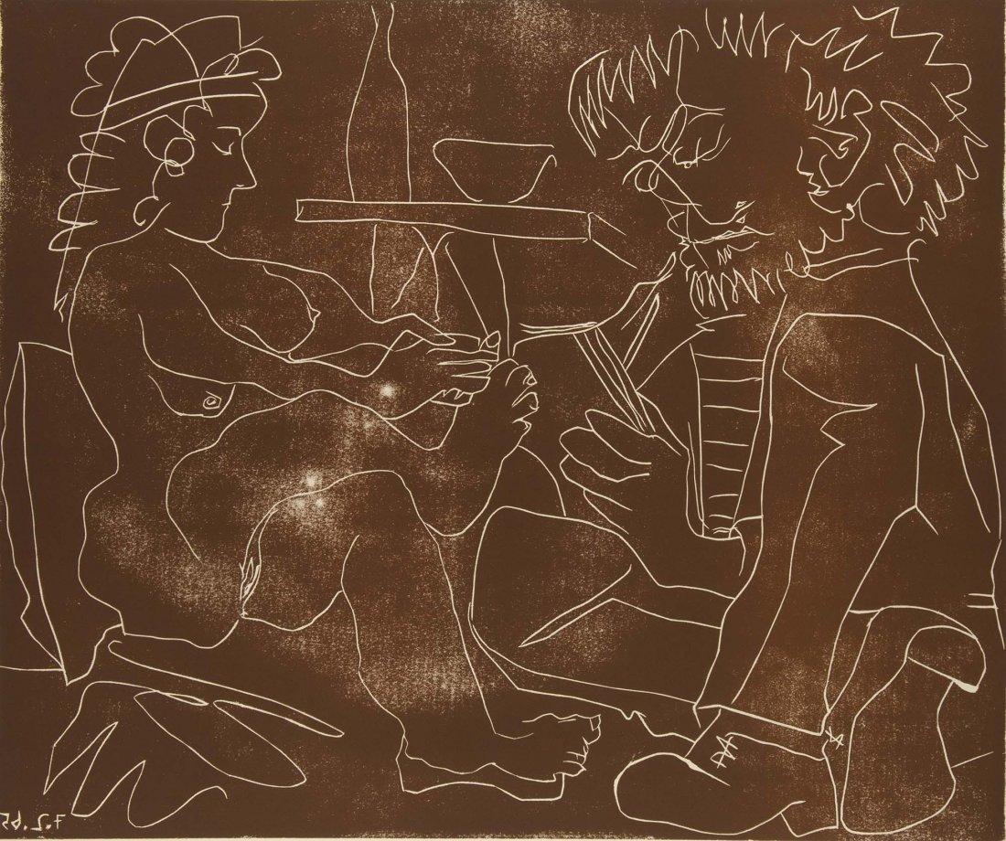 Picasso, Pablo. Peintre dessinant et Modèle Linocut