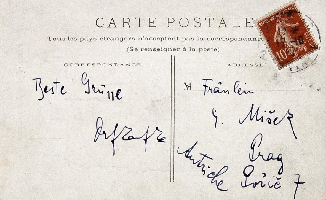 Franz Kafka - Unique Autograph Postcard Prague - May 17, 2013