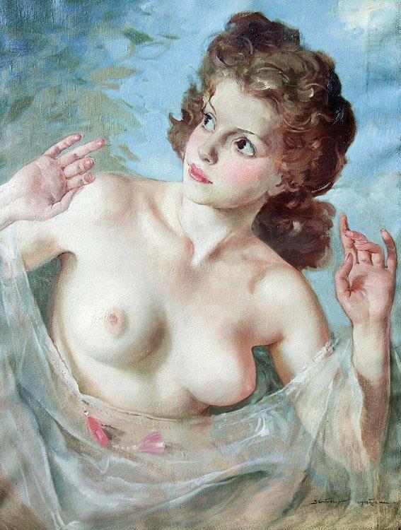 Szantho, Weibl. Halbakt, Öl - Female nude - Erotica