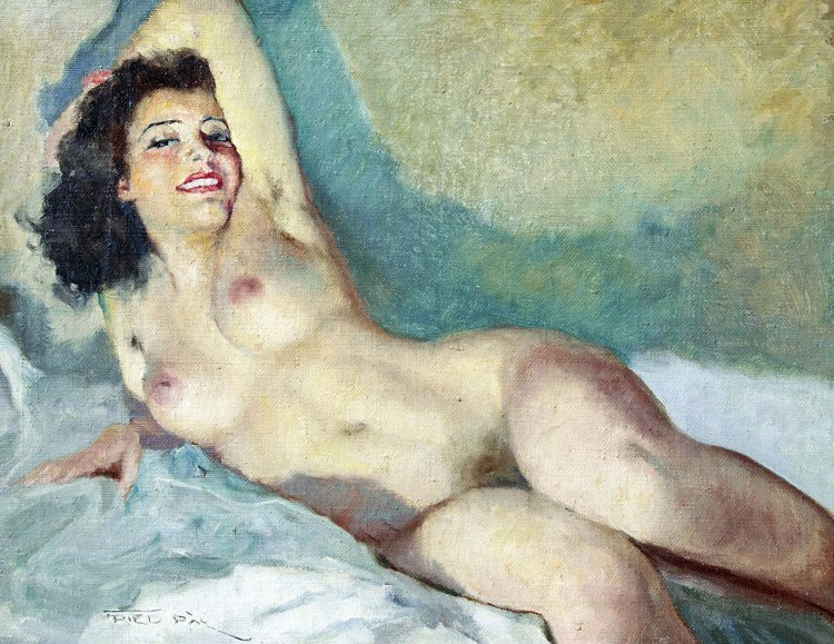 Fried, Liegender Akt, Öl - Female nude - Erotica