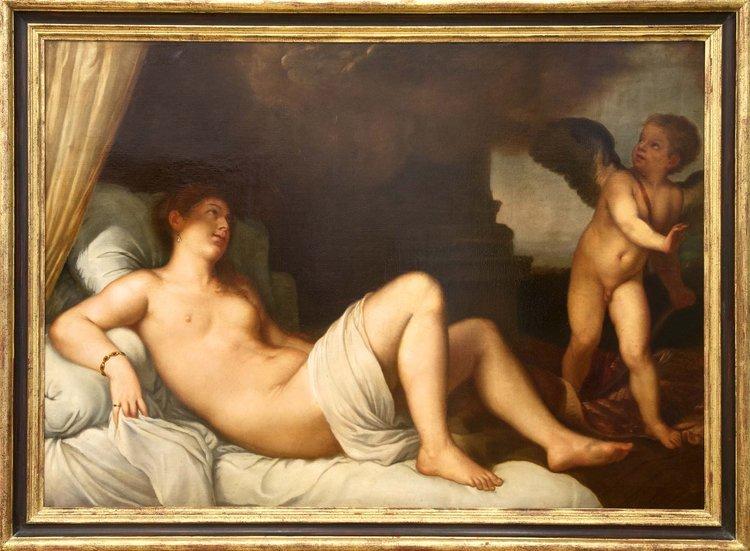 Unbekannt, Akt Mit Putto, Öl - Female nude - Erotica