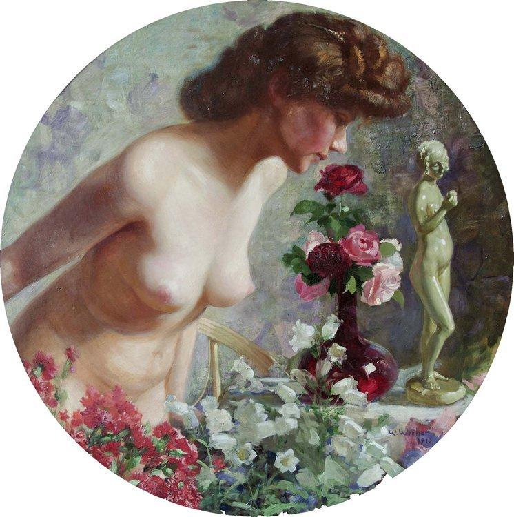 Werner, Akt Mit Rosen, Öl - Female nude - Erotica
