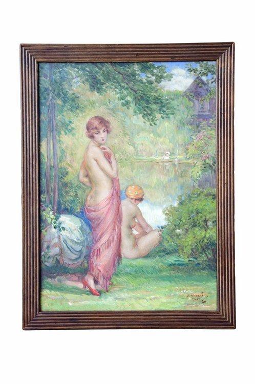 Marecek, Halbakt See, Öl - Female nude - Erotica