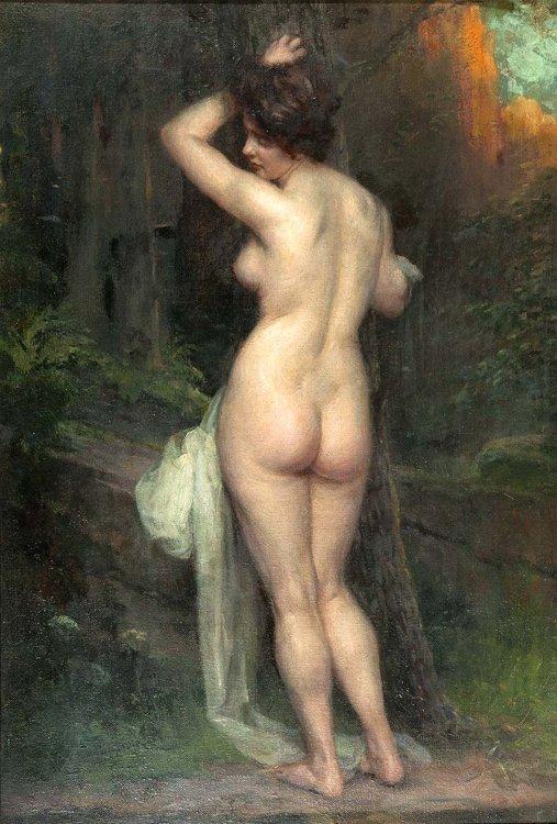 Papperitz, Sinnende, Öl - Female nude - Erotica