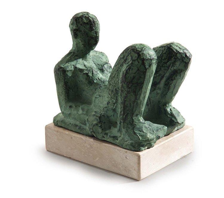 Flierl, Sitzender Akt, Bronze - Sculpture