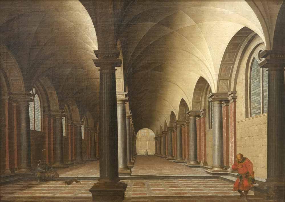 Engels, Gabriel  Kircheninterieur. Öl auf Leinwand