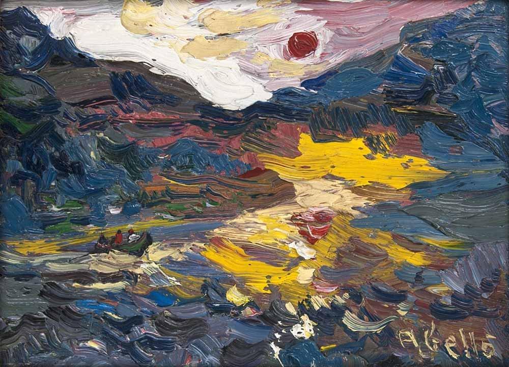 Abelló, Juan  Le lac. 1980. Öl auf Leinwand. 24 x 33