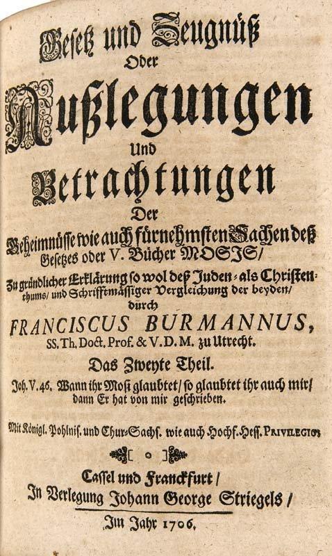Burman, Frans Gesetz und Zeugnüß oder Außlegungen und