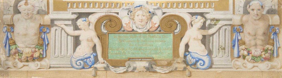 Buchmalerei aus einer Widmungsseite. Rom, vor 1631. Pe